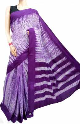 Purple And White Handloom Shibori Cotton Saree_LWSHSTHL180305