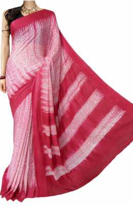 Red And White Handloom Shibori Cotton Saree_LWSHSTHL180309